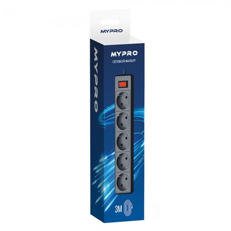 Сетевой фильтр Mypro 3 метра Черный
