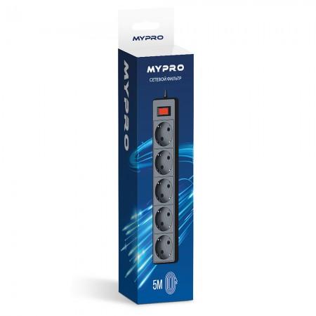 Сетевой фильтр Mypro 5 метра Черный